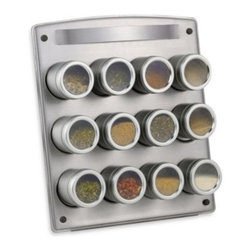 M. Kamenstein Inc. - Kamenste in  Magnetic 12-Jar Spice Rack with Easel - Magnetic spice rack is a neat way to display your spice tins keeping them handy and stylish looking. The magnets on the bottom of each tin hold them to the rack.