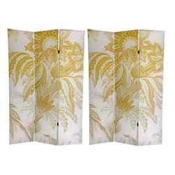 Oriental Furniture - 6 ft. Tall Floral Double Sided Room Divider - This distinctive privacy screen features an image reminiscent of French toile designs from the 19th century, with a simple, subtle, neutral color combination. The neutral colors and simple pattern makes this a practical decorative accessory, while providing a formal elegance. Room Dividers like this one are perfect for many uses such as a folding privacy screen, portable room partition, or backdrop to a plant or statue. They are great for home, office, or small business.