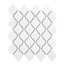 Arabesque Porcelain Tile Mosaic - Gloss White -
