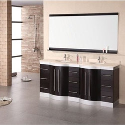 """Design Element - Design Element Jade 72"""" Double Sink Vanity Set w/ Travertine Stone Countertop - - The 72"""" Jade double vanity is beautifully constructed of solid oak wood. The marble counter tops classic beauty and contemporary cabinetry bring a sophisticated and clean look to any bathroom. Seated at the base of the double sinks are chrome finished pop up drains designed for easy one touch draining. A large mirror with accented espresso shelf and border is included. This sleek designed vanity has ample storage which includes nine drawers and two large double door cabinets accented with satin nickel hardware. The Jade Collection Bathroom Vanity is designed as a center piece to awe-inspire the eye without sacrificing quality, functionality or durability. Features Solid oak wood cabinetEspresso finish    Crema Marfil Marble counter topFaucet(s) not includedTwo chrome pop up drains  Large mirror with accented espresso shelf and borderNine large drawers with two large double door cabinetsSatin nickel finish hardware Manufacturer provides 1 year warranty How to handle your counterView Spec Sheet Natural stone like marble and granite, while otherwise durable, are vulnerable to staining from hair dye, ink, tea, coffee, oily materials such as hand cream or milk, and can be etched by acidic substances such as alcohol and soft drinks. Please protect your countertop and/or sink by avoiding contact with these substances. For more information, please review our """"Marble & Granite Care"""" guide."""
