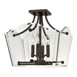 Hinkley Lighting - Hinkley Lighting 3001OZ Wingate Transitional Semi Flush Mount Ceiling Light - Wingate offers tradition with a twist: clear  floating beveled glass panels surround understated cast round candle cups and candle sleeves. This 4 light fixture in an Oil Rubbed Bronze finish has a modern yet classic style.