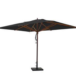 Greencorner - 10'x13' Mahogany Umbrella, Black - 10'x13' Rectangle