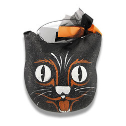 Hand Painted `Scaredy Cat` Halloween Decorative Pillow - Black cats are said to be bringers of bad luck, but this scaredy cat looks like it`s afraid of its own shadow! This delightful pillow is hand-crafted, then beautifully hand-painted in black, orange and white. Clear sparkles on the front dance and play in the light and really accentuate this decorative pillow! Hang it on the wall or a hook from the 13 inch wire hanger on the top, complete with a bow of tulle and ribbon!! The cover is made of a canvas that has been painted, and has a polyester stuffing. It measures 13 inches high and 12 inches wide. This would add a wonderful accent anywhere in your home, and would make an excellent gift for pillow or cat fanciers alike!