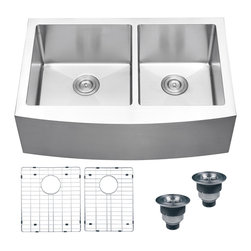 Ruvati - Ruvati 16-gauge Stainless Steel 33-inch Double Bowl Apron Front Kitchen Sink - The Ruvati kitchen sink is constructed from heavy-duty 16-gauge stainless steel. This sink also features deep bowls,classic rounded corners,sound guard padding,and comes with bottom rinse grids and basket strainers.