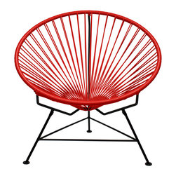 Sunburst Hoop Modern Lounge Chair in Red - Sit back and melt into this hoop-shaped, sunburst-woven modern lounge chair, complete with UV-resistant vinyl cord for breathability and support and a rust-resistant galvanized steel frame with a semi-textured polyester powder coat. The chair comes with a tripod base, and it's weatherproof and easy to clean. Use this chair inside or outside—it will be sure to add a burst of color and circular motion wherever it goes.
