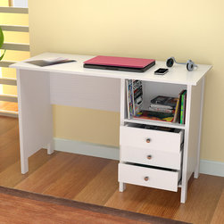 Inval America LLC - Inval White Modern Straight Desk - The sleek design of this white modern desk is perfect for an office or bedroom. With three accessory drawers, this stylish laminate desk features an open shelf for convenient storage and can be used as a computer desk or a writing desk.