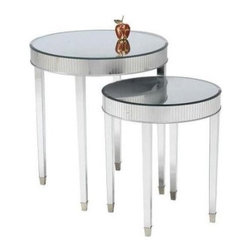 Round Mirrored Side Accent End Tables - Set of 2 - Extra tabletops always adds an element of style to your room — it shows you put effort into your lifestyle. Mirrored small round cocktail tables are oh so glamorous and perfect for entertaining.