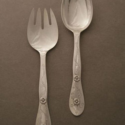 "Georg Jensen Ornamental Salad Servers, no. 61 - Features flower motif. Spoon measures 10 1/2"" length and fork measures 10 3/8"" length."