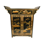 """n/a - Oriental Altar Cabinet Lacquered Landscape Art - Our Oriental altar cabinet is hand painted in rich gold Asian landscape art. Two doors, shelf, protective glass top and felt lined drawer make this a wonderful entry piece, night stand or wall cabinet. A great addition to any dining room, den or office. This cabinet is made of sturdy solid Philippine mahogany and measures 32"""" wide X 14"""" Deep X 32"""" H. It is beautifully crafted with rich details and will look fabulous in any contemporary, cottage or Asian room. We also have matching end tables and mirror. Purchase now, supplies are limited on quality hand-made imports."""