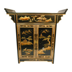 "n/a - Oriental Altar Cabinet Lacquered Landscape Art - Our Oriental altar cabinet is hand painted in rich gold Asian landscape art. Two doors, shelf, protective glass top and felt lined drawer make this a wonderful entry piece, night stand or wall cabinet. A great addition to any dining room, den or office. This cabinet is made of sturdy solid Philippine mahogany and measures 32"" wide X 14"" Deep X 32"" H. It is beautifully crafted with rich details and will look fabulous in any contemporary, cottage or Asian room. We also have matching end tables and mirror. Purchase now, supplies are limited on quality hand-made imports."