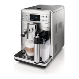 Saeco - Saeco Exprelia EVO Super Automatic Espresso Machine - Latte, cappuccino, and macchiato lovers take note, the Saeco Exprelia Evo super automatic espresso machine may be just what you're looking for. Featuring the brand-new H2 Technology Milk Carafe with dual chambers, the Exprelia Evo is capable of creating rich, creamy froth for a number of decadent beverages. The redesigned exterior is another upgrade that's sure to please. Stainless steel accents and an updated control panel with a crisp O-led display lend the Exprelia Evo a decidedly modern look.
