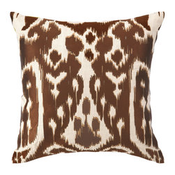 """Trina Turk - Trina Turk Ojai Chocolate Embroidered Pillow - Modern meets tribal in Trina Turk's square Ojai throw pillow. Its artistic ikat print is embroidered in rich chocolate and golden brown. 20""""W x 20""""H; 100% linen; Includes 95/5 feather down insert; Hidden zipper closure; Dry clean only"""