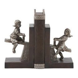 """BZBZ64717 - Boy and Girl Solid Cold Cast Resin Bookends Pair Statues - Boy and Girl Solid Cold Cast Resin Bookends Pair Statues. Bookends are made from cold cast solid resin composite. Dimension: 8""""H x 5""""W."""