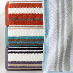 """Kassatex - Kassatex """"Oxford Stripe"""" Hand Towel - A sophisticated striped design in elegant colors gives these towels classic preppy style. With plush softness combined with excellent absorbency, they're an ideal way to bring fresh color as well as luxury to your bath. 600-gsm yarn-dyed cotton jacquar..."""