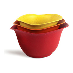 Architec™ Housewares - EcoSmart™ by Architec™ Purelast™ Mixing Bowl, Red to Yellow - EcoSmart™ by Architec™ Purelast™ Mixing Bowl. The most natural and durable advance in plastic alternatives. Made from 98% natural and recycled materials. Bowl set 2, 3, 4 QT. Set with non-slip base. Dishwasher Safe.