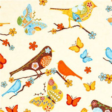 Fabric beige fabric bird flower butterfly Robert Kaufman