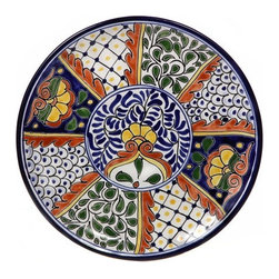 "Mexican Talavera - Mexican Talavera 12"" Decorative Plate, Design C - Mexican Talavera Decorative Plate - 12"""