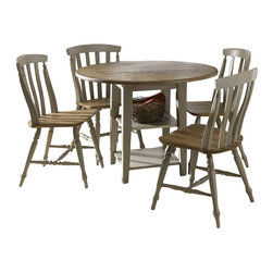 Liberty Furniture - Liberty Furniture Al Fresco 5 Piece 42 Inch Round Dining Room Set in Light Wood, - Al Fresco or dining in the outdoors brings to mind an open air natural feel. Al Fresco Casual Dining is a fresh approach to a casual rustic style. Two tone finish with tops of the tables in driftwood and the base in a taupe finish. Tops feature planked design with round/square peg accents. Tapered block legs carry the casual rustic theme of the group. Butterfly leaf square counter table has a pedestal storage base with a storage drawer and top shelving. What's included: Dining Table (1), Side Chair (4).