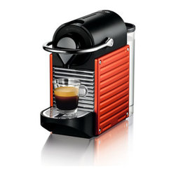 """Nespresso - Pixie Espresso Machine - Pixie is designed as the SMART model in our range. Features: -Easy insertion and ejection of capsules.-Compact Brewing Unit Technology.-Thermoblock heating element.-Fast preheating time: 30 seconds.-Folding drip tray accommodates tall recipe glasses.-Automatic and programmable coffee volume quantity.-Backlit LED water level detection indicators.-Holds 10 used capsules.-Milk frother not included.-Removable water tank: 24 oz / 0.7 L.-Distressed: No.Dimensions: -9.3'' H x 4.4'' W x 12.8'' D, 6.6 lbs.-Overall Product Weight: 6.6 lbs.-Overall Height - Top to Bottom: 9.3"""".-Overall Width - Side to Side: 4.4"""".-Overall Depth - Front to Back: 12.8"""".Warranty: -1 year warranty from date of purchase and registration."""