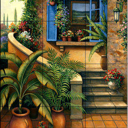 The Tile Mural Store (USA) - Tile Mural - Stairway To Paradise - Kitchen Backsplash Ideas - This beautiful artwork by John Zaccheo has been digitally reproduced for tiles and depicts a nice patio scene.  This garden tile mural would be perfect as part of your kitchen backsplash tile project or your tub and shower surround bathroom tile project. Garden images on tiles add a unique element to your tiling project and are a great kitchen backsplash idea. Use a garden scene tile mural for a wall tile project in any room in your home where you want to add interesting wall tile.
