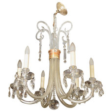 Mid Century Italian Glass Chandelier with Brass Detailing at 1stdibs