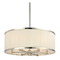 Hudson Valley Lighting - Hudson Valley Hastings I-6 Light Chandelier in Polished Nickel - Hudson Valley Lighting's Hastings's I-6 Light Chandelier shown in Polished Nickel. A lavish span of finely gathered natural silk enwraps the warm glow of our Hastings pendant. The gathered quality of the rich material's soft pleating is emphasized by the contrasting smoothness of the shade's cast metal rings. Reeded arms echo the silk's fine details and bring aesthetic unity to the collection's indulgent features.
