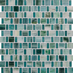 "Glass Tile Oasis - Teal 1"" x 1"" Green Pool Frosted Glass - Sheet size:  12 3/4"" x 12 3/4"".     Tile Size:  1"" x 1"" and 1/2"" x 1""     Tiles per sheet:  192     Tile thickness:  1/4""    Recycled Components:  25-70%     Sheet Mount: Paper Face      Sold by the sheet      -  These tiles are each a one of a kind work of art. Each of the six styles feature complimentary colors  shot through with transparent layers of contrasting colors  giving the tiles a unique feeling of depth. They are stacked into square and rectangular sizes to create a unique repeating pattern.These tiles are hand-poured and will have a certain amount of variation and variegation of color  tone  shade and size. Additionally  you will notice creases  wrinkles  shivers  waves  bubbles topped off with a natural surface to catch all forms of light for a brilliant effect. These characteristics of natural glass only serve to enhance the final beauty of the installation."