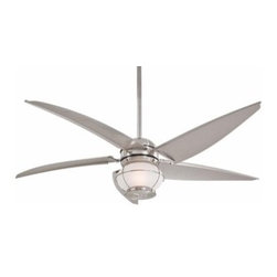 "Minka Lavery - Minka Lavery | Magellan Ceiling Fan - The Magellan Ceiling Fan provides a wonderful match of style and performance in a design that evokes imagination and adventure. Magellan features 5 sail blades with a 16° blade pitch and includes 3.5""and 6"" downrods (uses 3/4""I.D. DR5 series downrod) and a wall control system. The Fan is suited for indoor/outdoor use and is UL listed for wet locations. Magellan is made of stainless steel hardware and all weather blades. An integrated halogen light uses 1-100W mini-can halogen lamp and a cap for non-light use is included.Select from Oil Rubbed Bronze finish with Parchment Blades and Vintage Amber Seeded Glass  or a Brushed Nickel Wet finish with Silver Blades and Frosted Seeded Glass.Energy Information:   Airflow measured in cubic feet per minute at high speed (CFM) = 6200  Watts at high speed = 68  Airflow efficiency at high speed (CFM/Watts) = 91.18"