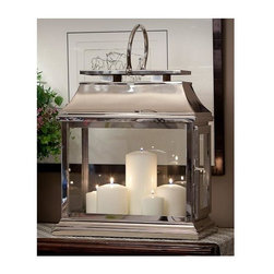 """Dessau Home - 14 in. Rectangular Lantern (Nickel) - Color: NickelMade from brass. Made in India. 12 in. L x 5.25 in. W x 14 in. HValue has always been an essential ingredient at Dessau Home. """"Essentials"""" represents a collection of well-appointed yet affordable home furnishings with a unique traditional styling that appeals to most transitional and contemporary home decorating needs."""