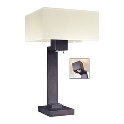 George Kovacs - Step 3-Light Table Lamp - No more awakening your spouse with late night reading binges. This bronze lamp will not only light up your room, but it also includes an adjustable reading light on the base. All this, and it's attractively modern with a geometric base and a clean rectangular shade.