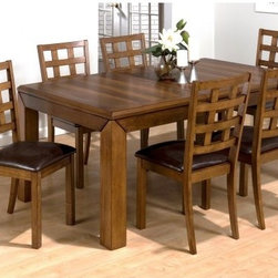 Jofran Enfield 7 piece Rectangular Dining Set - The Enfield 7 pc. Rectangular Dining Set brings a cabin-like atmosphere to your home. This set features six chairs and a table built from solid Asian hardwood with a rich walnut finish. The chairs all have a dark chestnut faux leather seat and a checkered backrest. The table has an extendable butterfly leaf that stores away with ease. Additional Information: Chair Dimensions: 18W x 22D x 38H inches Table Dimensions: 60-72L x 42W x 30H inches About Jofran FurnitureJofran is a seller of fine home furnishings based in Norfolk Mass. Launched In 1986 Jofran is known for the high-quality materials and meticulous methods that go into producing its products. Jofran furniture is easy-to-assemble and includes various styles from all around the world making it easy to find a piece that suits your home decor.