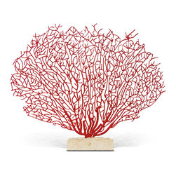 Kathy Kuo Home - Scarlet Grand Fan Coral Sculpture with Limestone Base - A fantastic display of feather coral fans out in branches of radiant red. Wrought iron is hand-welded, forming intricate shapes. The natural limestone base, in off-white, beautifully contrasts with the crimson sculpture. This artwork can be displayed both indoors and outdoors.
