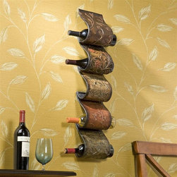 Holly & Martin - Salinas Wall Mount Wine Rack Sculpture - Hangs on the wall as easily as a picture. Holds up to 5 bottles of wine. Made from durable metal. Hand painted finish. No assembly required. 6.75 in. W x 4.5 in. D x 34 in. H (4.76 lbs.). Assembly InstructionDress up your home and your wine collection at the same time! This exquisite piece of metal art resembles a swatch pallet with its variety of patterns and hand painted colors. Each layer delicately arches to create 5 perfect wine bottle holders. Whether you place it in your kitchen or dining room, you are sure to be impressed by the convenience and compliments of friends.