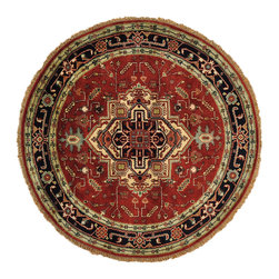 1800-Get-A-Rug - Round Serapi Heriz Rust Red Oriental Rug 100 Percent Wool Handmade Sh20277 - Our Tribal & Geometric hand knotted rug collection, consists of classic rugs woven with geometric patterns based on traditional tribal motifs. You will find Kazak rugs and flat-woven Kilims with centuries-old classic Turkish, Persian, Caucasian and Armenian patterns. The collection also includes the antique, finely-woven Serapi Heriz, the Mamluk, Afghan, and the traditional handmade village Persian rugs.