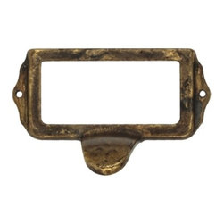 Classic Hardware - Distressed Antique Brass Pull/Card Holder (CH10108203) - Distressed Antique Brass Pull/Card Holder