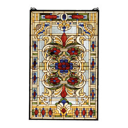 "Meyda Lighting - Meyda Lighting 71268 22""W x 35""H Estate Floral Stained Glass Window - Meyda Lighting 71268 22""W x 35""H Estate Floral Stained Glass Window"