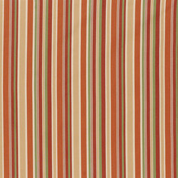 """Ballard Designs - Seneca Stripe Rust Sunbrella Fabric by the Yard - Content: 100% Sunbrella® Acrylic. Repeat: Non-railroaded fabric, 8 7/8"""" Repeat. Care: Spot clean with mild soap. Width: 54"""" wide. Rust, green, brass and cream stripes woven in washable, easy-care Sunbrella acrylic.Content: 100% Sunbrella Acrylic. . . . Because fabrics are available in whole-yard increments only, please round your yardage up to the next whole number if your project calls for fractions of a yard. To order fabric for Ballard Customer's-Own-Material (COM) items, please refer to the order instructions provided for each product.Ballard offers free fabric swatches: $5.95 Shipping and Processing, ten swatch maximum. Sorry, cut fabric is non-returnable."""