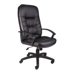 """Boss Chairs - Boss Chairs Boss High Back Leatherplus Chair with Knee Tilt - Beautifully upholstered in black Leather plus. Leather plus is leather that is polyurethane infused for added softness and durability. Executive High Back styling with extra lumbar support . Extra thick seat and back cushion. Pneumatic gas lift provides instant seat height adjustment. Adjustable tilt tension control. Upright locking control. Durable polypropylene armrests. Large 27"""" nylon base for greater stability. Hooded double wheel casters. Matching guest chair with cantilever base (B7309). Optional knee-tilt mechanism upgrade available. Comes standard with knee-tilt mechanism."""