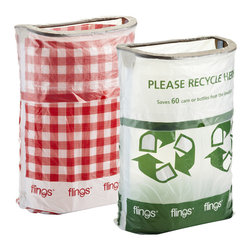Flings Pop-Up Trash Bin, Gingham - Invite the Flings® Pop-Up Trash Bin to your next gathering and let it become the life of the party at cleanup time. This convenient trash bag and stand in one is both portable and attractive, making it easier for your guests to spot and use. Once the bin is full, simply close the drawstring and toss. It's perfect for parties, tailgating or picnics!