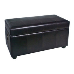 International Caravan Faux Leather Bench Trunk - This transitional-style International Caravan Faux Leather Bench Trunk is an ideal way to add storage and style to your home and it is a wonderful substitution for a traditional coffee table. This gorgeous chest is made of wood covered in black faux leather and blends beautifully with many decor palettes and styles. It also serves as comfortable extra seating when you have a full house. The padded bench seat lifts to reveal a generous storage space perfect for items you want to keep handy but out of sight. It adds a beautiful touch of elegance and sophistication to any room. Dimensions: 38W x 20D x 19H inches. About International CaravanInternational Caravan Inc. is a wholesale and manufacturing company that supplies a wide variety of international products to retail businesses. From living room and bedroom furniture and home decor to outdoor furniture and futons International Caravan has the pieces you need with the look you want to match your lifestyle.