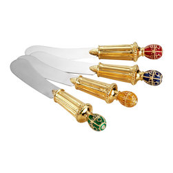 IMPERIAL COURT, INC. - Imperial Egg Cheese Spreaders Assorted Set Of 4 - Set of 4 individual multi-color egg cheese spreaders. Hand crafted with 24K plated handles and stainless steel blades. Arrive boxed in burgundy velvet box with gold interior.