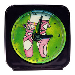 Ballet Alarm Clock - What little ballerina wouldn't love this gift? On our Ballet Clock, the little ballerina dances magically around the edge of the clock as she counts the seconds. Made from an original painting by artist Pamela Corwin, each clock is 2.25'' square with a round face.  Each alarm clock comes in a gift box and includes a free battery. Made in the USA (Be sure to look for our ballet magnets, too!)