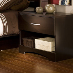 South Shore - Infinity 1 Drawer Nightstand - The sleek, contemporary Infinity nightstand, with its dark chocolate finish, looks fantastic adjacent to any bed. Its single drawer storage space makes this nightstand both attractive and functional. Features: -Sintec drawer glides.-Particleboard construction.-Laminate finish.-Infinity collection.-Protecting our Environment for Generations to Come!South Shore Furnitureis proudly taking a stand on its environmental positioning and is supporting its words with very concrete actions and a vision for a healthy future. Current actions include:Improved packaging Our new packaging use 60% less non-biodegradable materialsEnergy efficiency Yearly, 5 to 6 tons of wasted paneling are converted into energy used internallyEnvironmentally Preferable Product (EPP) certification Already meeting the very strict 2009 California Formaldehyde RegulationsGreener communication tools Reduced format on recycled paper and conversion to electronic formatA Green Future in mind: a member of the Composite Panel Association whose mission is to work towards more ecological and environment-friendly panel solutions.-Distressed: No.-Collection: Infinity.-Country of Manufacture: Canada.Dimensions: -Overall Product Weight: 30 lbs..Warranty: -5-year manufacturer's limited warranty.