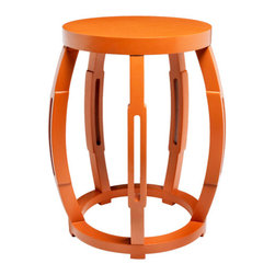 Taboret Stool Side Table, Orange - Garden-style stools that can function as extra seating or side tables are perfect for a preteen's bedroom. Clear off the stool for an extra seat when a friend comes over, or cozy it up to the bed as a nightstand.