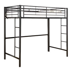 Walker Edison - Sunset Metal Twin Loft Bed - Black - Made of Powder Coated Steel. Designed with safety in mind, the bed includes full length guardrails and a sturdy integrated ladder. Great for any space-saving design needs. Stylish contemporary design accommodates a variety of underneath options. Attractive lead-free powder-coated finish. Conforms to the latest consumer product safety standards. Ideal space-saving design. Maximum recommended upper mattress thickness of 9 in.. Sturdy construction . Does NOT include mattresses or bedding. Ships Ready-To-Assemble  . Clearance under bunk: 55.5 in. H. Assembly instructions with online support and toll-free number available. 80 in. W x 42 in. D x 68 in. H. Weight bearing capacity: 250 lbsElegance and function combine to give this contemporary bunk bed a striking appearance. The design gives a stylish modern look crafted with durable steel framing.. NOTE: ivgStores DOES NOT offer assembly on loft beds or bunk beds. Bunk Bed Warning. Please read before purchase.