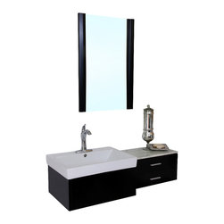Bellaterra Home - 45.8 Inch Single Sink Vanity-Wood-Black - Satisfy your home design needs with this sleek Black finish vanity offering a contemporary design and traditional features. Simple wood cabinet with rich black finish with two drawers installed with full extension drawer glides give all the form and function of this modern vanity. Dimension: 45.8 W x 18.5 D x 12.8 H