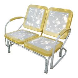 4D Concepts - 4D Concepts Metal Retro Glider in Yellow & White Metal - Enjoy a wonderful evening out on the patio with this retro style glider.  You'll get simply nostalgic over the cut-out details on all the seat and backrests. Built to be as comfortable as it is charming, this set features a glider for smooth to-and-for motion.  The metal seat and backrests are trimmed in a vibrant shade of vintage yellow.  The metal arms with yellow metal capped armrest are a finishing touch to an outstanding glider. The rich powder coated white and green trim give it a distinct look.  Constructed of metal .  Clean with a dry non abrasive cloth.  Assembly required.