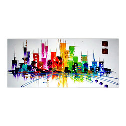 Matthew's Art Gallery - Oil Painting Abstract Modern Art on Canvas Cityscape Color City - The Painting:  Color City