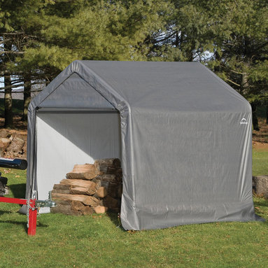 None - ShelterLogic 70401 Shed and Storage Series Grey Peak Shed - An efficient,affordable way to store motorcycles,ATVs,lawn/garden tractors,snowmobiles and more,this shelter from ShelterLogic features a triple-layer,waterproof,enhanced weave polyethylene design for maximum protection against the elements.