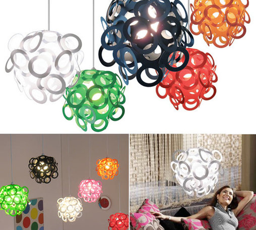 Loopy Lu Pendant Shade by Lothair Hamman - A bare light bulb is a depressing sight. Luckily, there's a way to give it personality in a flash. Top with one of these loopy shades and the blah bulb instantly becomes the center of attention.